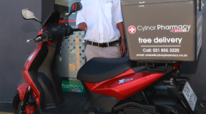 scooter used for free deliveries from a pharmacy